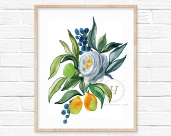 Large Flower Watercolor Wall Art Print