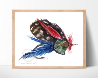Fly Fishing Print, Watercolor Hook Art, Wall Art