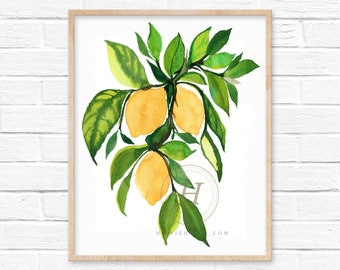 Lemons with Green Leaves watercolor art print