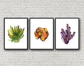 Coral Wall Art Prints Coral Watercolor Decor
