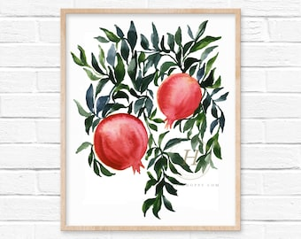 Pomegranate Fruit Watercolor Print