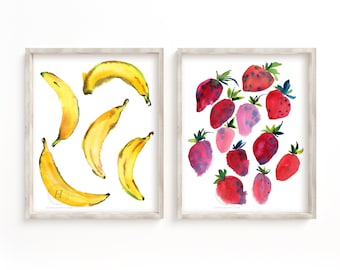 Bananas and Strawberries Print Set of 2, Watercolor Fruit Art, Decor