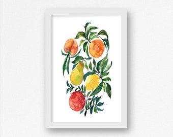 Fruits Watercolor Print Lemon, Orange, Pear, Peach, Pomegranate, 11x17 Print