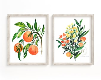 Large Fruit Tree and Flower Watercolor Print Set of 2