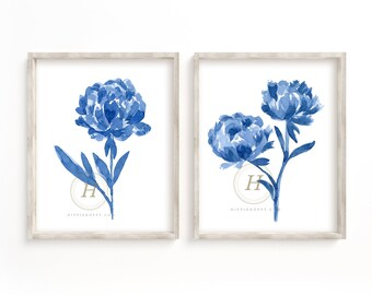 Flower Blue set of 2, Watercolor Florals, Wall Art