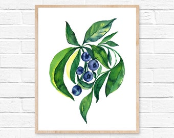 blueberry watercolor blueberries blueberry watercolor kitchen art blueberry painting kitchen decor watercolor painting fruit watercolor art