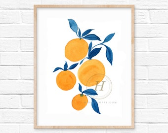 Oranges with Blue Leaves Watercolor Print by HippieHoppy