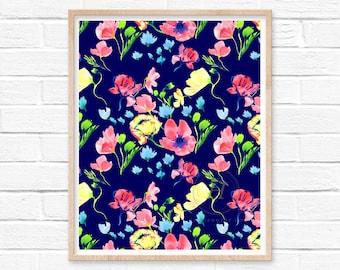 Floral Pattern Print Flower Wall Art