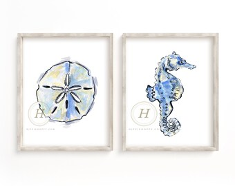 Sand Dollar and Seahorse Print set of 2, Watercolor Beach Art, Wall Art