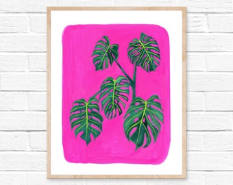 Monstera Leaf Watercolor Painting, Monstera Plant Art, Monstera Painting, Original Watercolor Art, Original Watercolor Monstera Plant Art