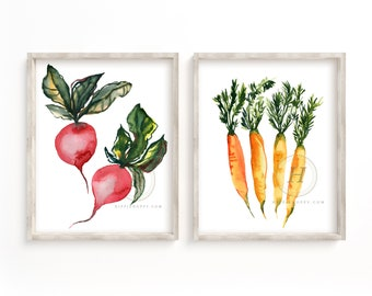 Radish and Carrot Watercolor Print set of 2