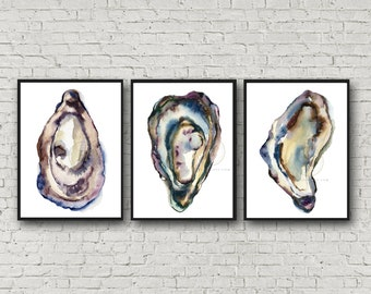 Large Oyster set of 3 Art Prints by HippieHoppy