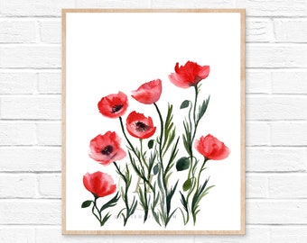 Red Poppies Print Watercolor Poppy Art Decor