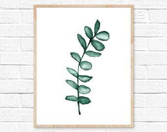 eucalyptus garland art print eucalyptus minimalist home decor boho rustic decor watercolor farmhouse decor rustic home decor art prints art