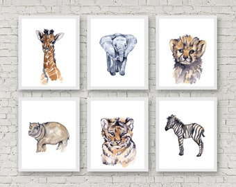 Safari Nursery Art Nursery Watercolor Prints Baby Animal Prints Childrens Art Baby Animal Wall Art Boys Room Decor Watercolor Print Set of 6