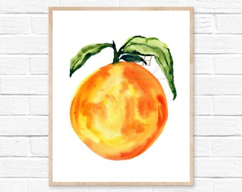 Large Orange Watercolor Print Kitchen Wall Art HippieHoppy