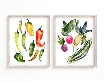 Vegetable Watercolor Print set of 2