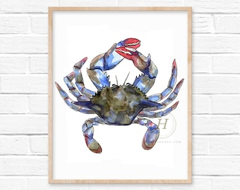 Blue Crab Watercolor Art Print by HippieHoppy