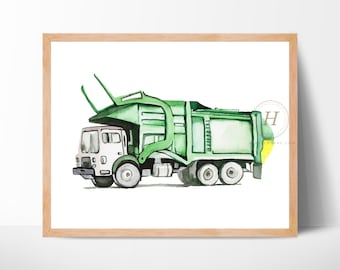 Trash Truck Front Loader Watercolor Print Boys Room Art