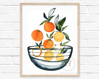 Oranges in bowl, Watercolor print, Kitchen art