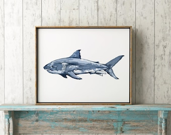 Great White Shark No.1112 Print, Shark, Nautical Art Print, Great White Shark Watercolor Art Decor, Great White Shark Print, Marine Biology