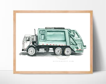 Garbage truck print, Trash truck back loader, Watercolor truck, Wall art