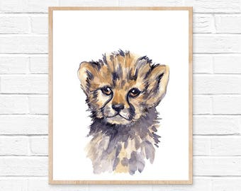 Cheetah Watercolor Print Cheetah Nursery Art Cheetah Painting Baby Animal Print Safari Nursery Print Baby Cheetah Africa Art Nursery Artwork