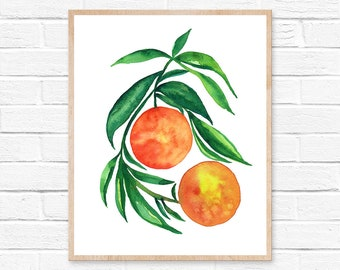 Kitchen Wall Art Orange Art Print Orange Illustration Fruit Prints Oranges Kitchen Art Watercolor Oranges Citrus Decor Print Fruit Oranges