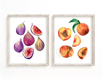 Figs and Peaches Watercolor Prints Set of 2