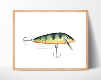 Fishing lure Watercolor Print