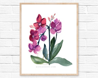 Orchid print, Watercolor art, Home decor