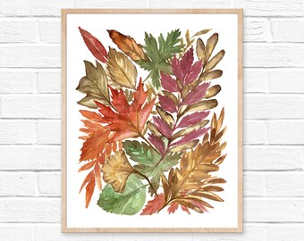 leaf watercolor leaves watercolor watercolor painting watercolor print leaf print botanical watercolor leaf painting watercolor leaf art