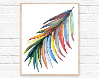 Rainbow Palm Leaf Watercolor Print
