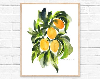 Kumquats Watercolor Print by HippieHoppy