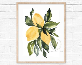 Bright Yellow Lemons Watercolor Print Kitchen Lemon Decor