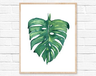Monstera Leaf Watercolor Print No.103 Abstract Botanical Leaves Monstera Deliciosa Illustration Room Decor Garden Minimalist Art Decor Boho