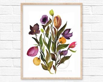 Flowers Colorful Watercolor Print