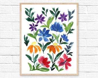 wildflowers watercolor watercolor painting watercolor flowers wildflower art wildflower wall art home decor watercolor print flowers prints