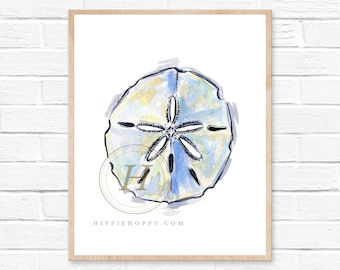 Sand dollar print, Watercolor art