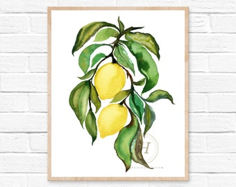 Lemons, Watercolor Print, Modern Art by hippiehoppy