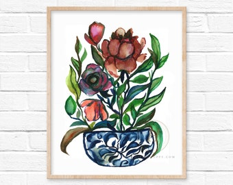 Flowers in Jar Watercolor Art Print