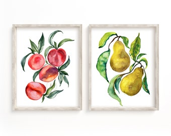Pears and Peaches Watercolor Print set of 2