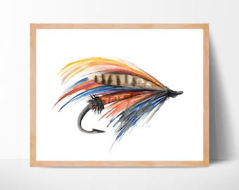 Watercolor fly print, Fly fishing watercolor art