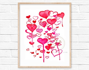 Valentine's Day Hearts Watercolor Printable Art 8x10 by HippieHoppy