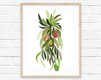 Olives Watercolor Print by hippiehoppy
