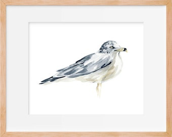 Seagull Print, Bird Art, Sea Bird, Bird Decor, Beach Art, Nautical Print, Ocean Decor, Wildlife Print, Ocean Bird, Watercolor Print