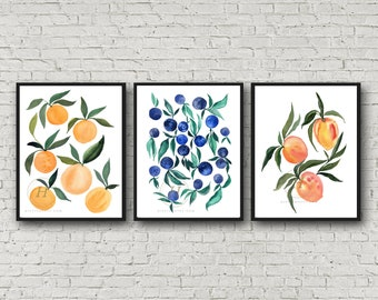 Orange Plums Apricots print, Set of 3, Watercolor Fruit Art