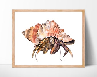 hermit crab watercolor art crab painting illustration beach sea print home decor watercolour ocean sealife nursery art hermit crab painting