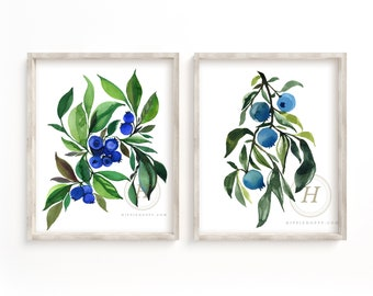 Blueberry watercolor art print set of 2 by HippieHoppy