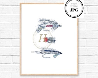 fly fishing lake house decor fishing gift for him art print watercolor print bathroom wall decor nautical decor cabin decor fly fishing art